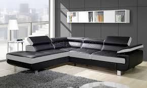 canapé d angle convertible cuir blanc canapé d angle convertible avec coffre en simili cuir blanc noir damien