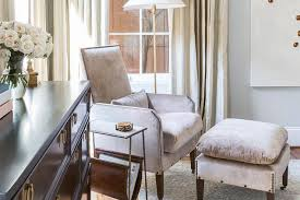 matching chair and ottoman chic reading corner with gray velvet chair and ottoman