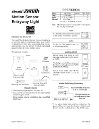 zenith motion sensor wiring diagram model 4162 motion detector