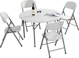 small foldable table and chairs 4ft round plastic small folding table