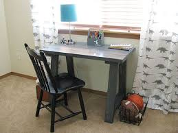 How To Build A Small Desk White Build A Simple Small Trestle Desk Free And Easy Diy