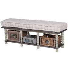 Bench With Baskets Vintage Farmhouse Storage Bench With Baskets