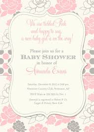 baby shower invitation pink and grey floral polka dots