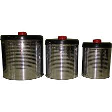 Canister For Kitchen Art Deco Canister Set Chrome Kitchen Ribbed From Lakegirlvintage