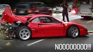 500 000 f40 crashed after someone foolishly drives it in