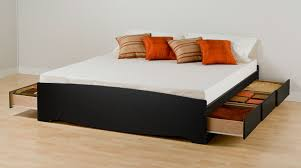 How To Build A Platform Bed With Drawers by Modern Storage Platform Bed Queen Size Bed With White Leather