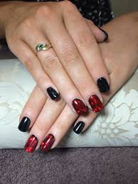 black red foil nail designs by treasuresnails pinterest
