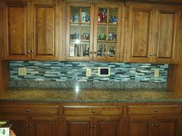 blue tile backsplash kitchen 61 blue glass tile backsplash with brown wooden kitchen cabinet