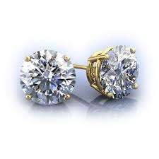 moissanite earrings white moissanite earrings yellow gold at rs 19999
