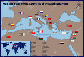 mediterranean map map and flags of the countries of the mediterranean royalty free