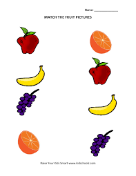 picture matching worksheets fruits summmer vacation