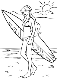barbie surfer coloring free printable coloring pages
