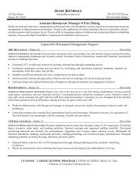 Hospitality Resume Samples by Restaurant Resume Template Job Description Example Assistant