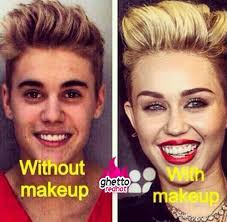 Miley Meme - justin bieber without makeup and with makeup ghetto red hot
