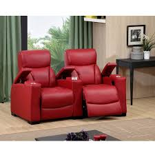 bristol two seat red top grain leather recliner home theater