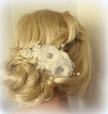hair chiffon bridal hair comb chiffon floral hair clip wedding fascinator