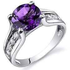 silver amethyst rings images Amethyst solitaire style ring sterling silver rhodium jpg