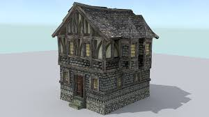 3d house builder medieval town builder houses 3d model medieval artwork fantasy