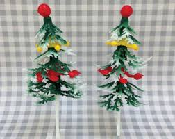 Small Christmas Tree Cake Decorations by Plastic Tree Etsy