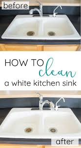 How To Clean White Porcelain Kitchen Sink How To Clean An Enameled Cast Iron Kitchen Sink Farmhouse