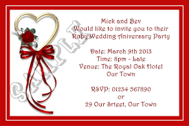 R S V P Means Invitation Cards Ruby Anniversary Invitations Ruby Wedding Invitations Invite