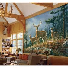 ideal decor 144 in w x 100 in h balloons over bagan wall mural w autumn whitetail wall mural
