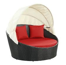 Red Bed Cushions Lexmod Siesta Outdoor Wicker Patio Espresso Canopy Bed With Red