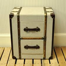 trunk style bedside tables canvas 2 drawer trunk chest or bedside table allissias attic