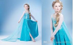 Halloween Princess Costumes Free Shpping Girls Elsa Costumes Halloween Fantasy Dress Costumes