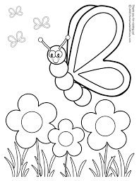 coloring pages for kids online flowers and butterflies coloring