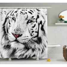 safari decor shower curtain set white tiger wintertime rare