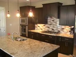 Kitchen Cabinets With Glass Decorations Black Wooden Kitchen Cabinet And Cream Tile