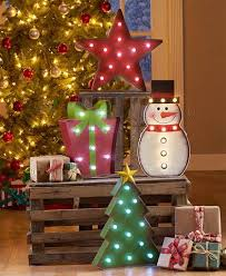 snowman tree christmas marquee lighted sculpture metal snowman tree