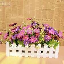 artificial flower best white color wooden fence artificial flower pot wooden vase