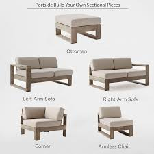 Build Your Own Wooden Patio Table by Build Your Own Portside Sectional Weathered Gray West Elm