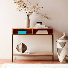 industrial storage open console raw mango west elm uk