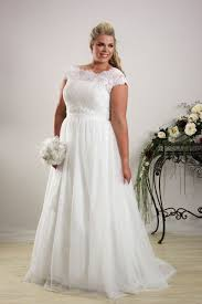 relaxed wedding dress brocade lace wedding dress for plus size brides with cap sleeves