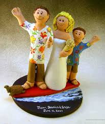 of three wedding cake topper