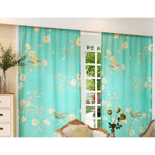 Teal Living Room Curtains Green Floral Print Polyester Insulated Country Long Bedroom Or