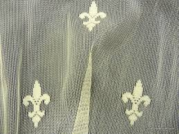 Fleur De Lis Curtains Lace Sheer Fleur De Lis Embroidered Net Ivory Curtain Fabric