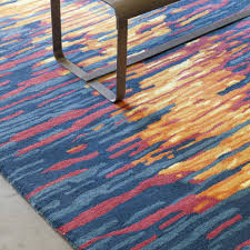 Red And Turquoise Area Rug Stella Collection Hand Tufted Area Rug In Blue Red U0026 Orange