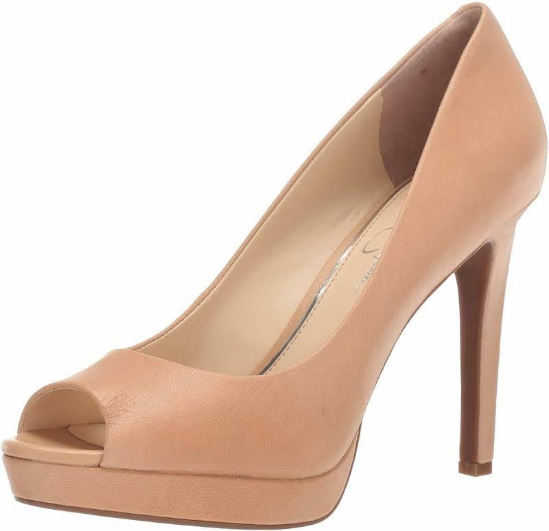 Jessica Simpson Dalyn Leather Dressy Peep-Toe Heels Beige 8 Medium (B,M)