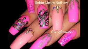juicy divalicious pink glitter nails fierce diva nail art design