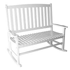 White Slat Rocking Chair by Shop White Wood Slat Seat Outdoor Rocking Chair At Lowes Com