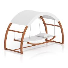 wooden hammock with sunshade 3d model from cgaxis