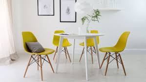 eames style chair dining room scandinavian dining room with yellow eames style