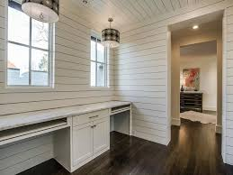 Under Desk Pull Out Drawer Shiplap Home Office With Black And White Drum Pendants Over Built
