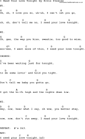lights down low guitar chords i need your love tonight by elvis presley lyrics and chords