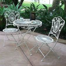 Outdoor Bistro Table Set White Outdoor Bistro Table And Chairs White Cast Iron And