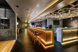 Bar Table Design by Minimalist Long Bar Table With Wooden Stools Also Nice Ceiling